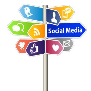 Social Media Sign Post on white background